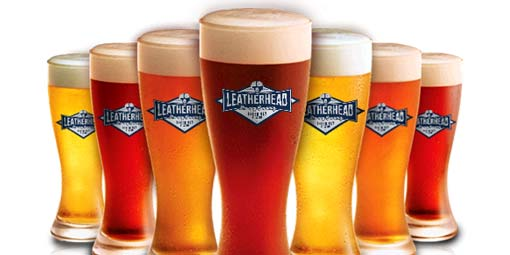 beer glasses with Leatherhead logo photoshopped on them