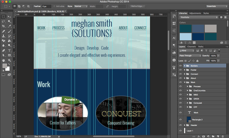 A screenshot of the mock-up for this site in Photoshop