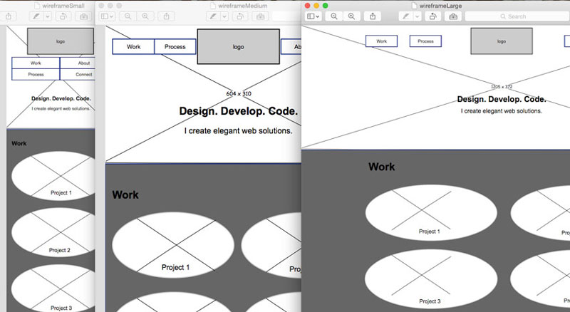 A screenshot of 3 sizes of wireframe for this project