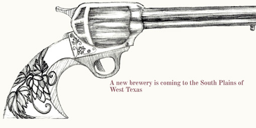 a closeup detail from Dusty Moth's teaser page with a revolver with hops worked into the grip and the words, 'A new brewery is coming to the South Plains of West Texas
